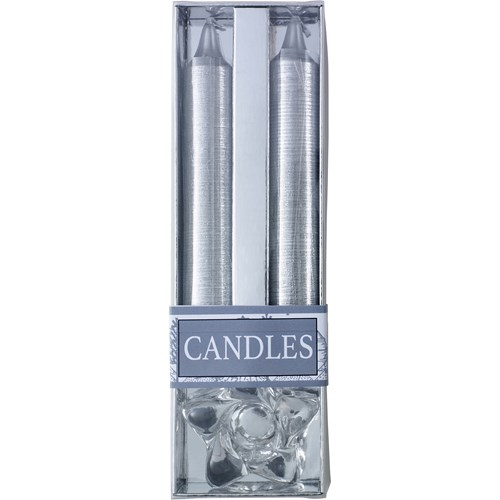 Glitter candles with glass holder. 8217_032 (silver)